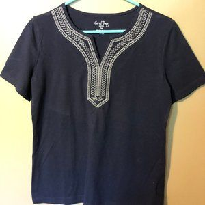 Coral Bay, Size PM, short sleeve, navy top